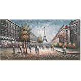 zoinart 100% Hand Painted Oil Paintings 24x48 inch Eiffel Tower Cityscape Wall Decorations Grey Artwork Large Abstract Modern