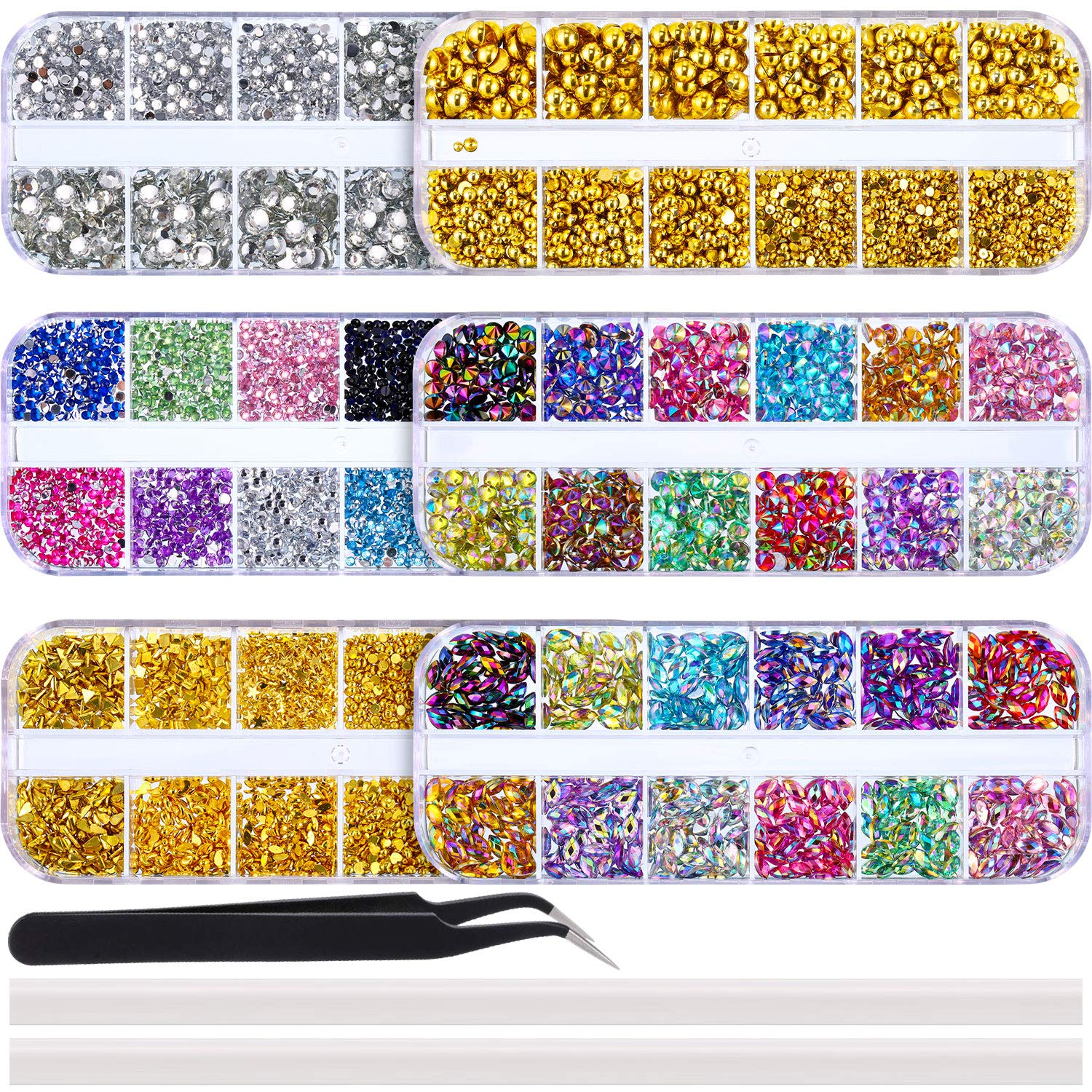 Bememo 13000 Pieces Nail Art Rhinestones Kit Nail Rhinestones Nail Studs Half Pearl Horse Eye Rhinestones in 6 Boxes with Pick Up Tweezers and 2 Pieces Rhinestones Picking Pen for Nail Art Craft DIY by Bememo