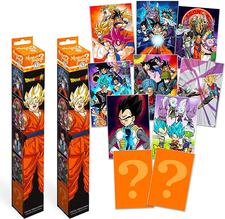 Dragon Ball Super Poster Mystery Bundle Set ~ 4 Pack Mystery Dragon Ball Z Wall Posters for Kids Adults (Dragon Ball Decorations Room Decor Wall Art)