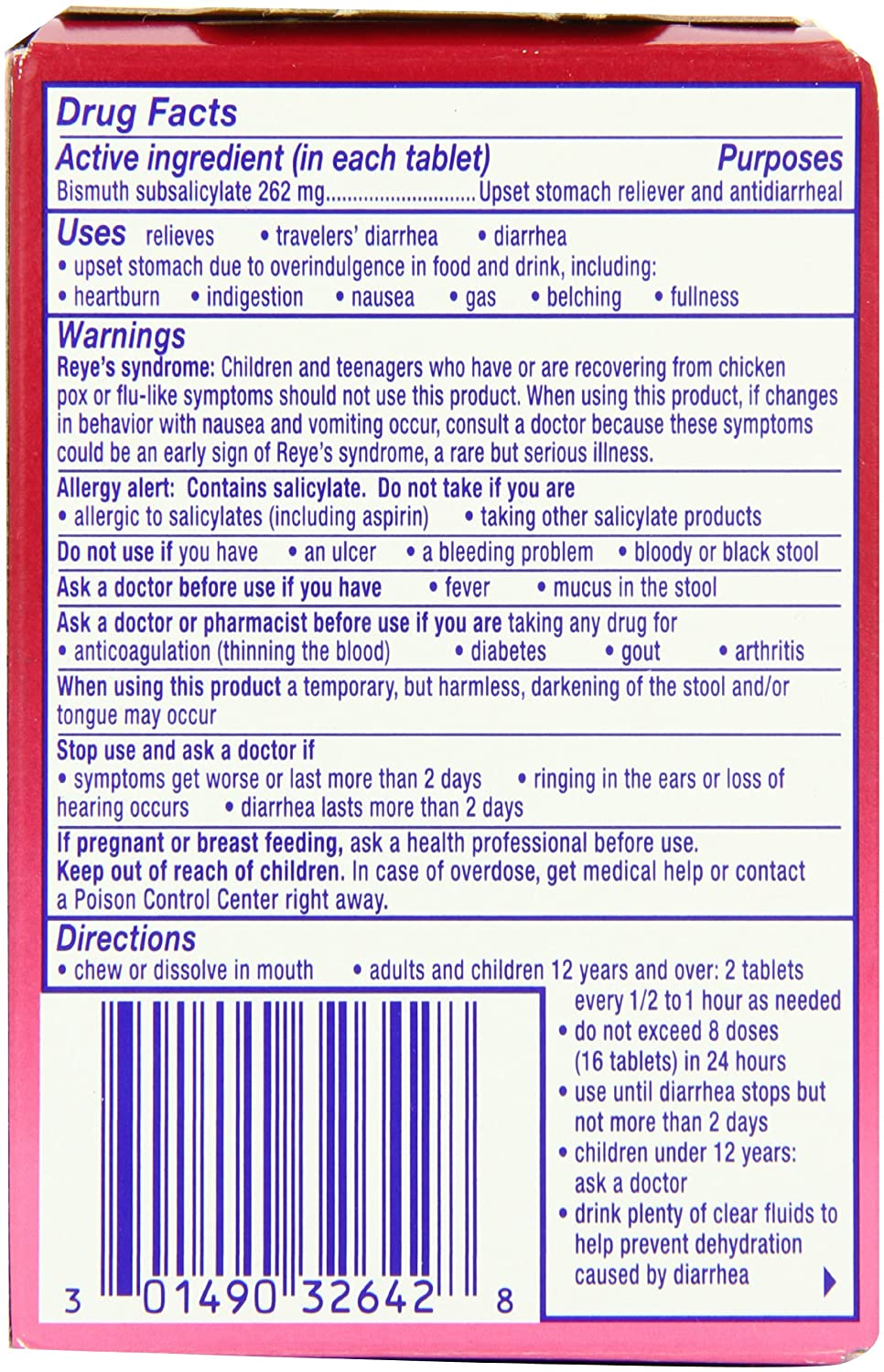 Amazon Pepto Bismol Original Chewables 5 Symptom Relief