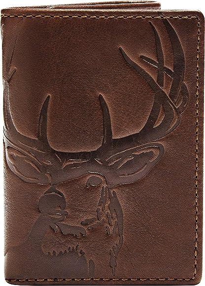 17a00f5f3662 HOJ Co. DEER Trifold Wallet-Full Grain Leather Mens Trifold Wallet-Deer  Wallet-Hunter Gift