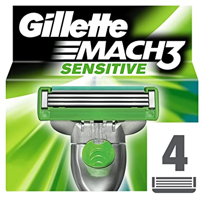 Gillette Recambio de Hojas de Afeitar para Hombre Mach3 Sensitive - 4 Recambios