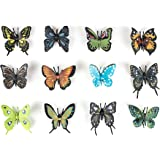 "1 Dozen 2.25"" Realistic Vinyl Butterflies By Hands On Learning - Plastic Butterflies Mini Toy Figures - Fun Toys For Children, Birthday Party Favors, Classroom Educational Figures"