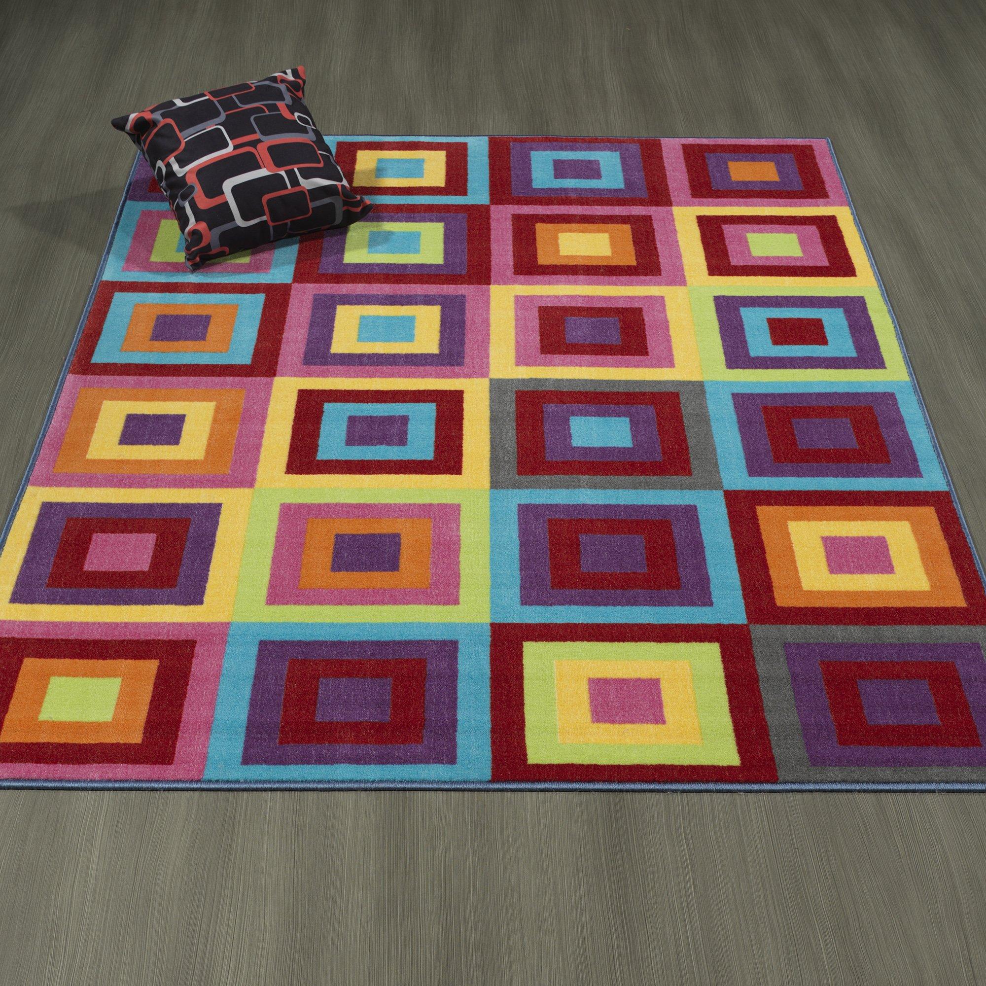 Ottomanson Rainbow Collection Non-Slip Kids Rug Modern Boxes Pattern Design Area Rug, 8'2'' X 9'10'', Multicolor