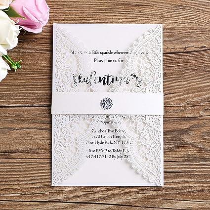 Amazon Com Ponatia 25pcs Lacer Cut Wedding Invitations Card Hollow
