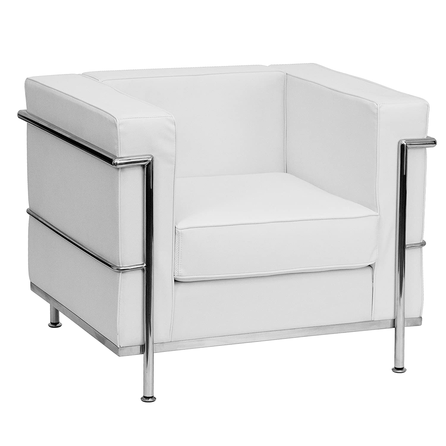 Flash Furniture HERCULES Regal Series Contemporary Melrose White Leather Chair with Encasing Frame