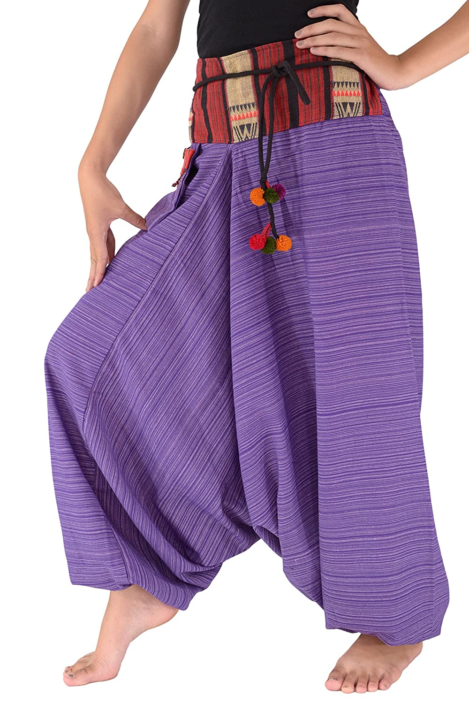 Samurai Pants Women Traditional Loose Harem 100% Cotton Unisex (Purple) Bjelly