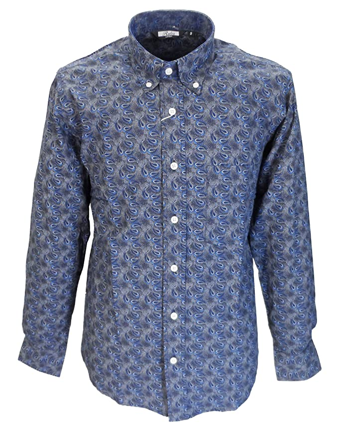 1960s Menswear Outfits | 60s Fashion for Guys Relco Mens Navy Paisley Vintage Design Shirts £31.99 AT vintagedancer.com