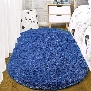 ST. BRIDGE Fluffy Soft Oval Kids Room Rug Bedroom Bedside Carpet, Anti-Skid Shaggy Fur Floor Area Rugs, Indoor Modern Fuzzy Nursery Mats for Living Dorm Room Home Decor, 2.6 x 5.3 Feet, Light Navy