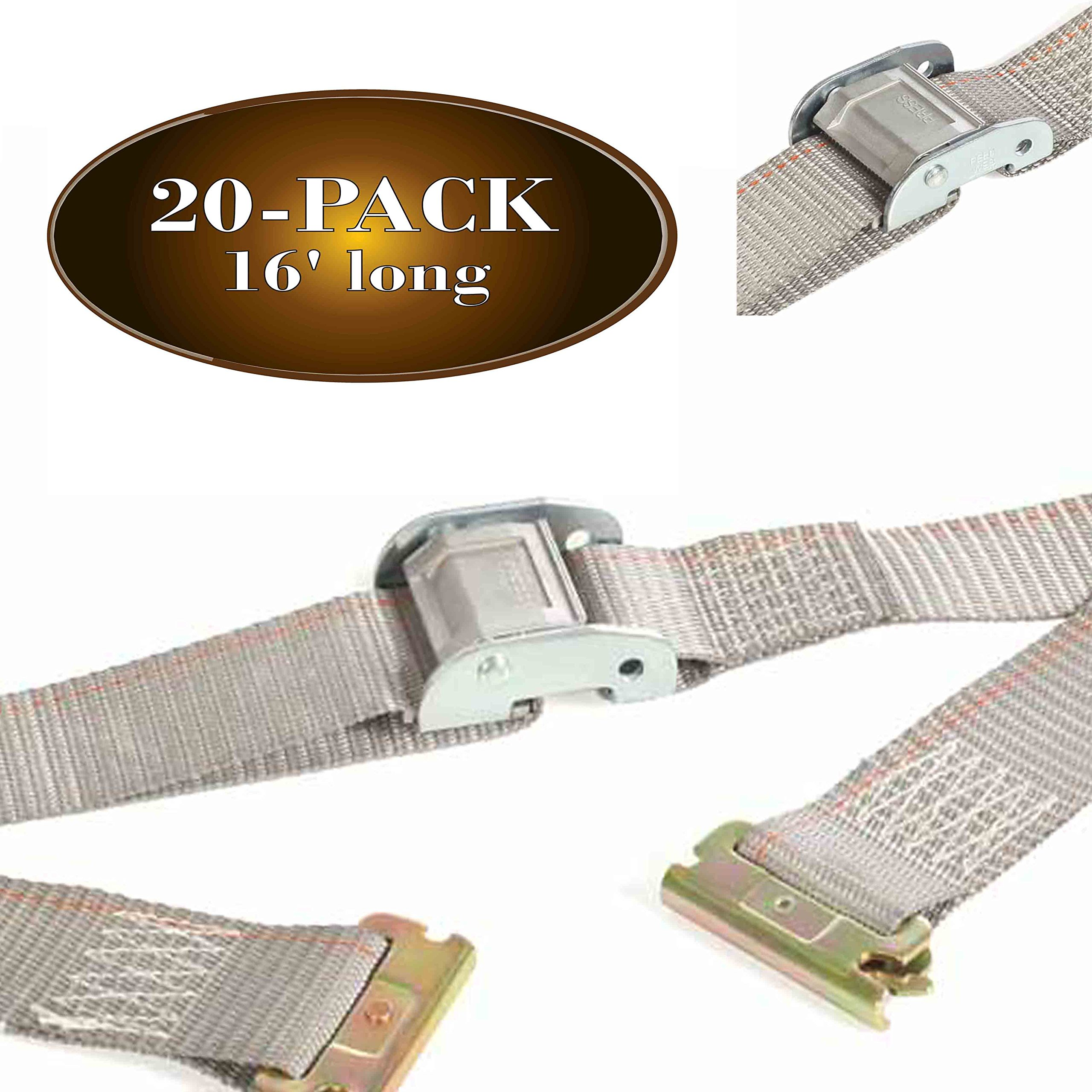 Twenty 2'' x 16' E Track Strap, Durable Cam Buckle Cargo TieDown, Heavy Duty Grey Polyester Tie-Down Cam Strap, ETrack Spring Fittings, Tie Down Motorcycles, Trailer Loads, by DC Cargo by DC Cargo Mall