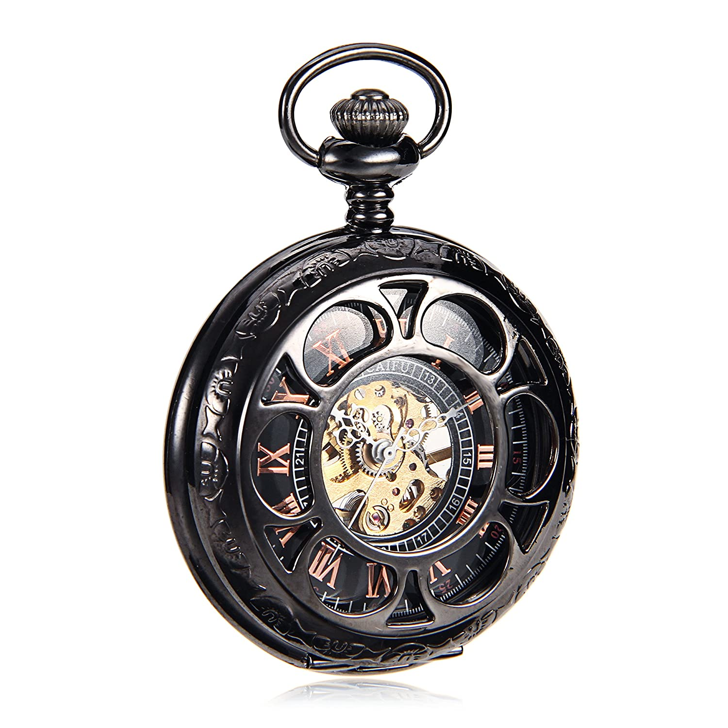 Amazon.com: Reloj Steampunk Mens Titanium Mechanical Pocket Watch Vintage Pendant Black Pendant Watch Chain Orologio Da Tasca: Watches