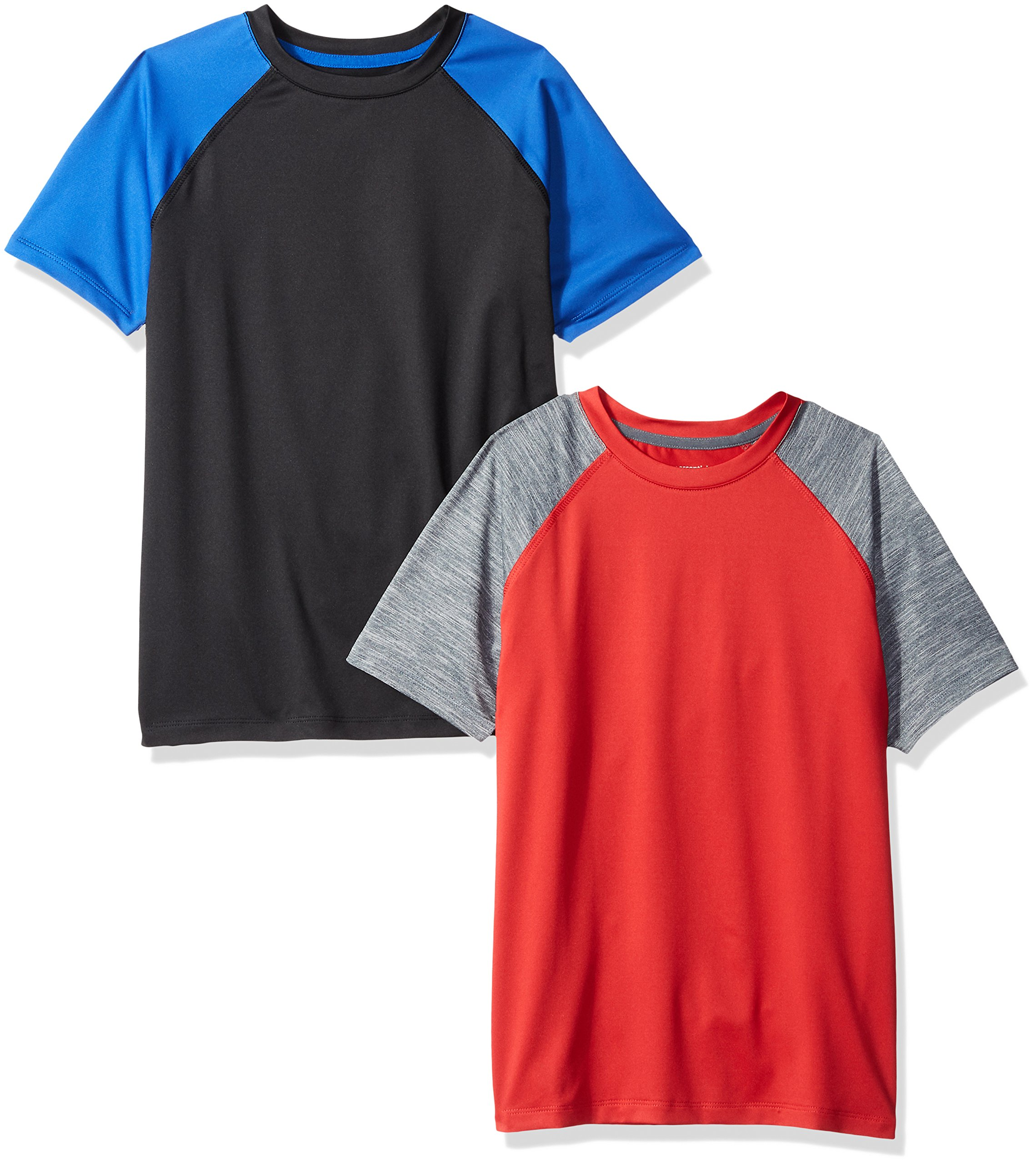 Amazon Essentials Boys' 2-Pack Short-Sleeve Raglan Active Tee, Black/Royal Blue/Grey/Red, Small
