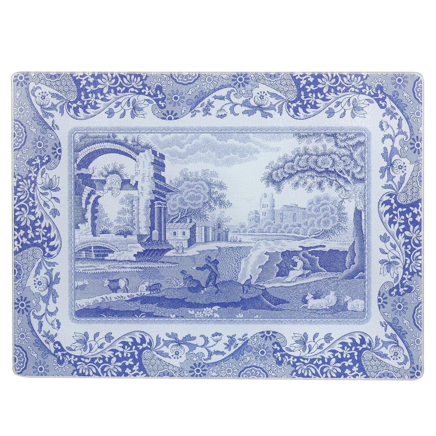 Blue Italian 30 x 40 cm Glass Glass Worktop Saver, Blue/White Spode X0019118337