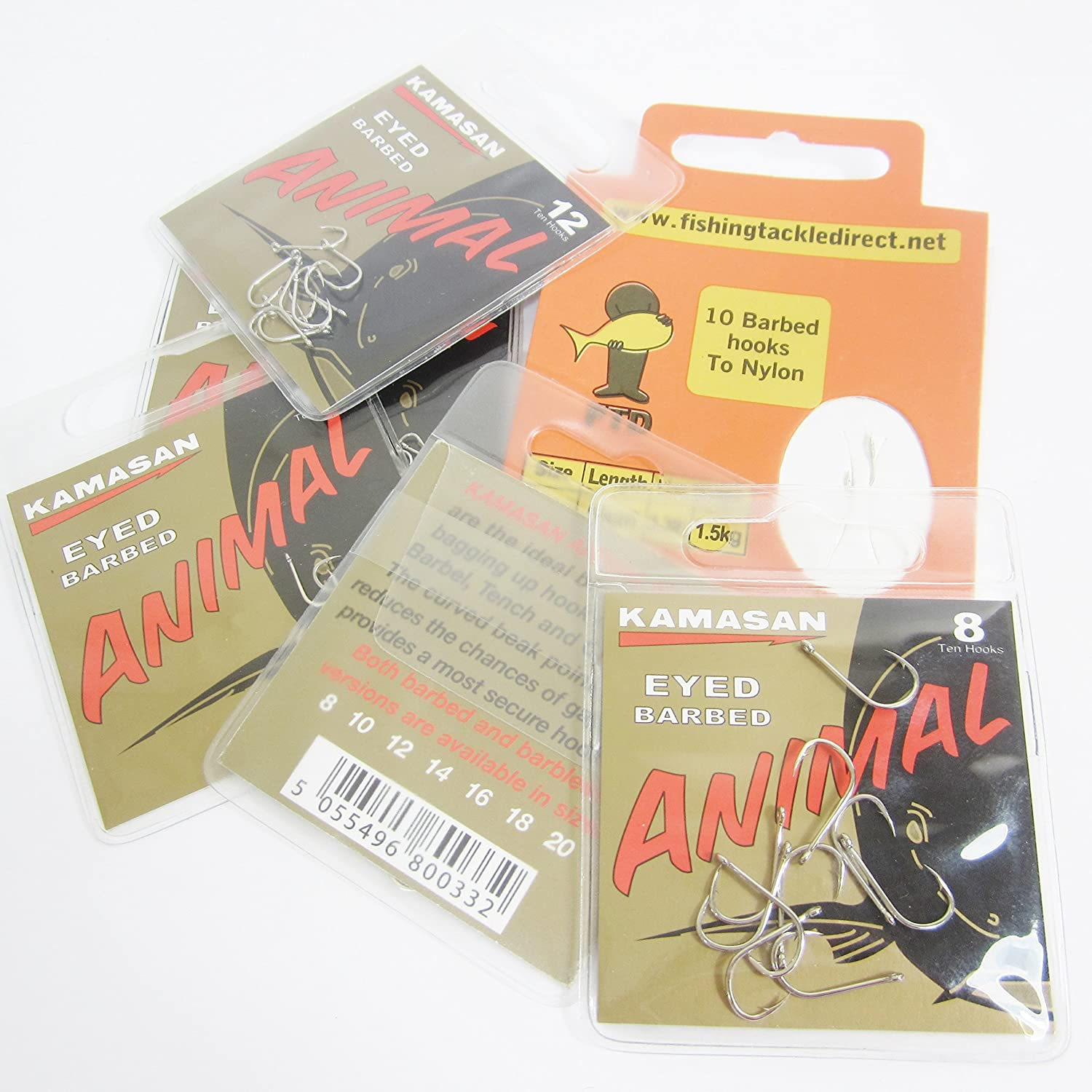 12 3 packs of 10 KAMASAN ANIMAL FTD 10 BARBED comes with 10 FTD Barbed Hooks to Nylon Eyed Fishing Hooks Sizes 8 14 /& 16 Min 30