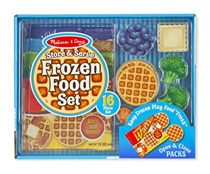 Melissa & Doug Store and Serve Frozen Food Resealable Cloth Bags With Wooden Play Food.