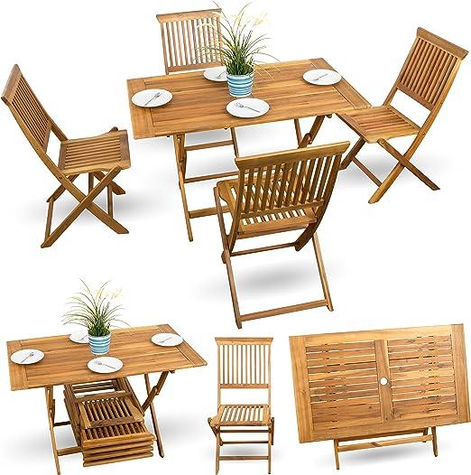5 piezas, madera de muebles de jardín muebles de jardín Bistro Set ...