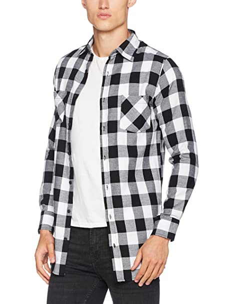 Urban Classics Side-Zip Long Checked Flanell Shirt, Camisa Hombre, (Blk/Wht 00050), Large: Amazon.es: Ropa y accesorios