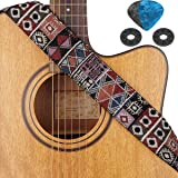Eison Guitar Strap for Acoustic Electric Bass Guitar with Leather Ends Vintage Pattern Free Picks & Strap Blocks multi…