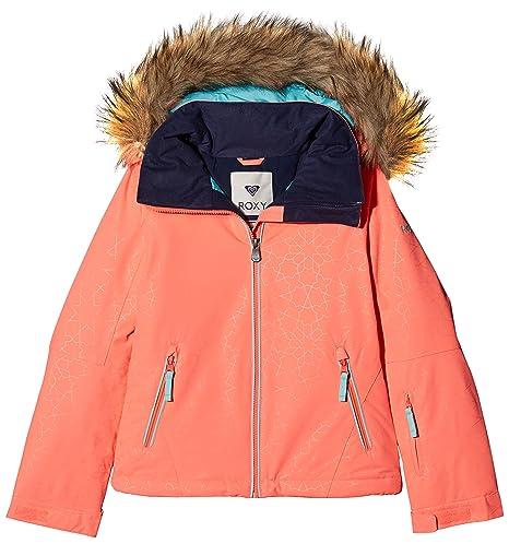 Roxy Jet Ski Solid Girl Jk Chaqueta para Nieve, niñas, Rosa (Emberglow Stripe_1