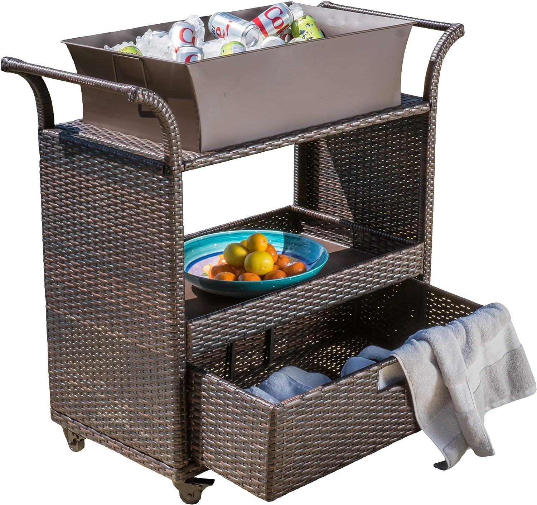 Christopher Knight Home Manka Indoor Wicker Bar Cart, Multibrown