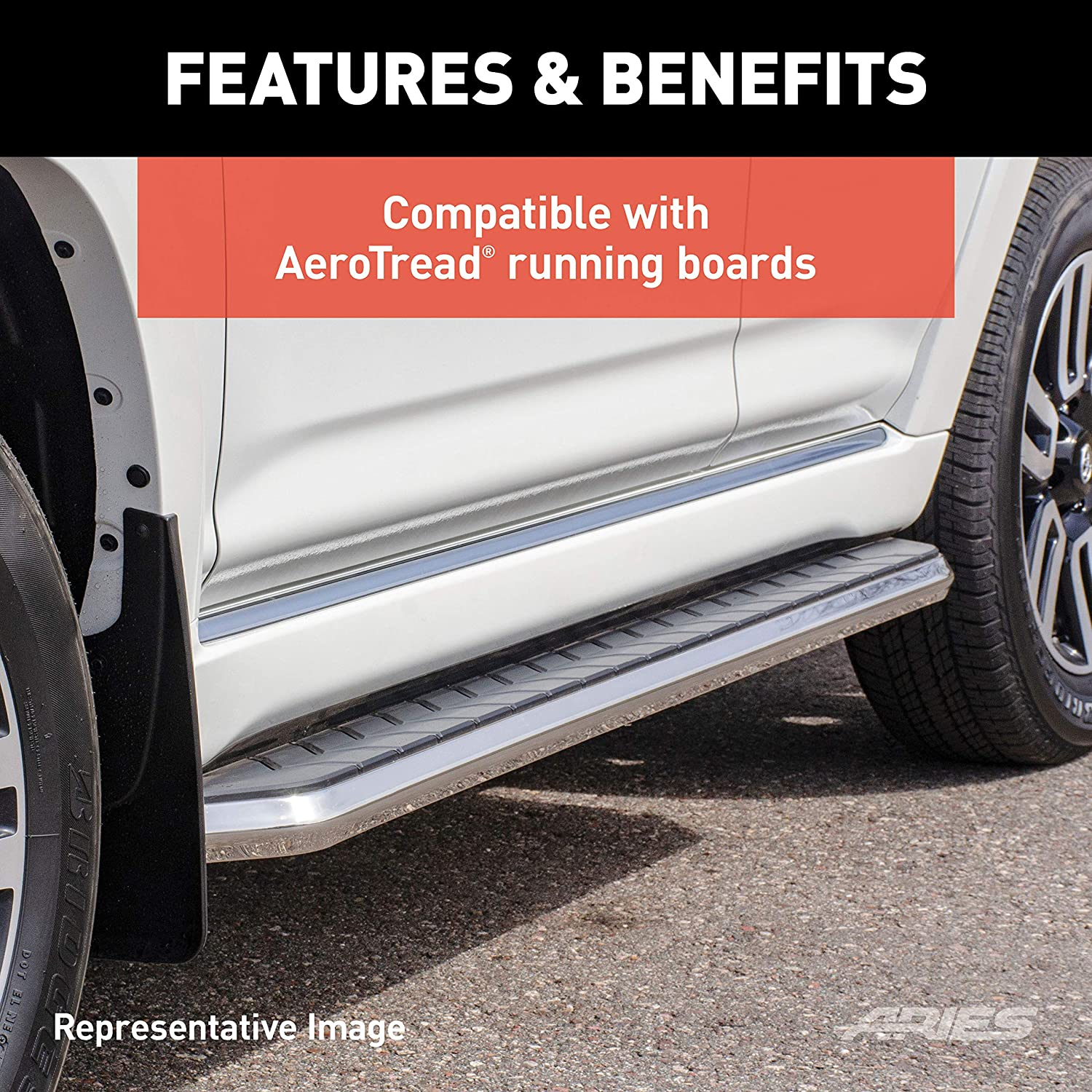 Aries 2051110 Mounting Brackets for Aerotread for 2018 Chevrolet Traverse//Buick Enclave