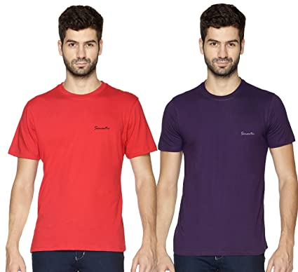 655c26c0d Semantic - Combo of 2-100% Cotton - Mens Plain T Shirt for Daily Use in Red  & Purple Color - Round Neck & Half Slevees in Size S (Small): Amazon.in:  Home & ...