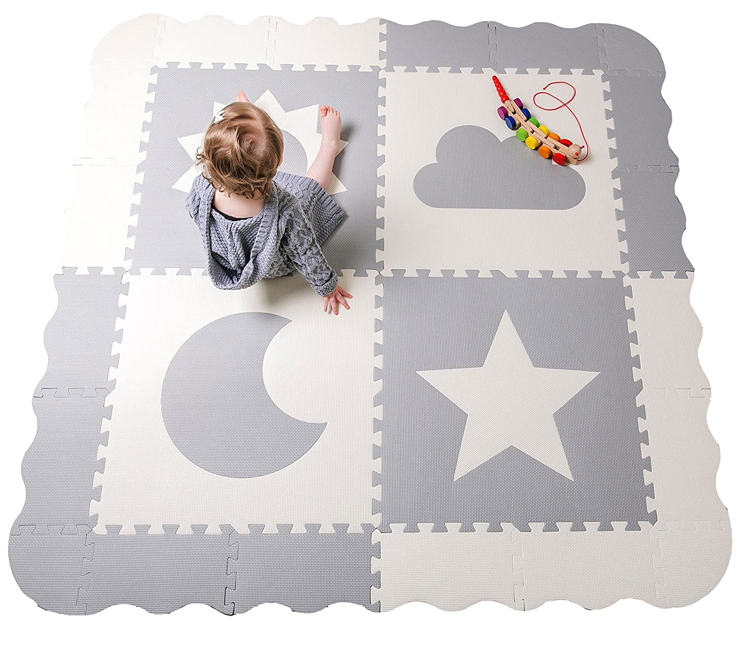 Baby Play Mat Tiles - 61 x 61 Extra Large, Non Toxic Thick Floor Mat for Kids, Grey & White Interlocking Foam Playroom & Nursery Playmat, Safe & Protective For Infants Tummy Time Childlike Behavior MSGW