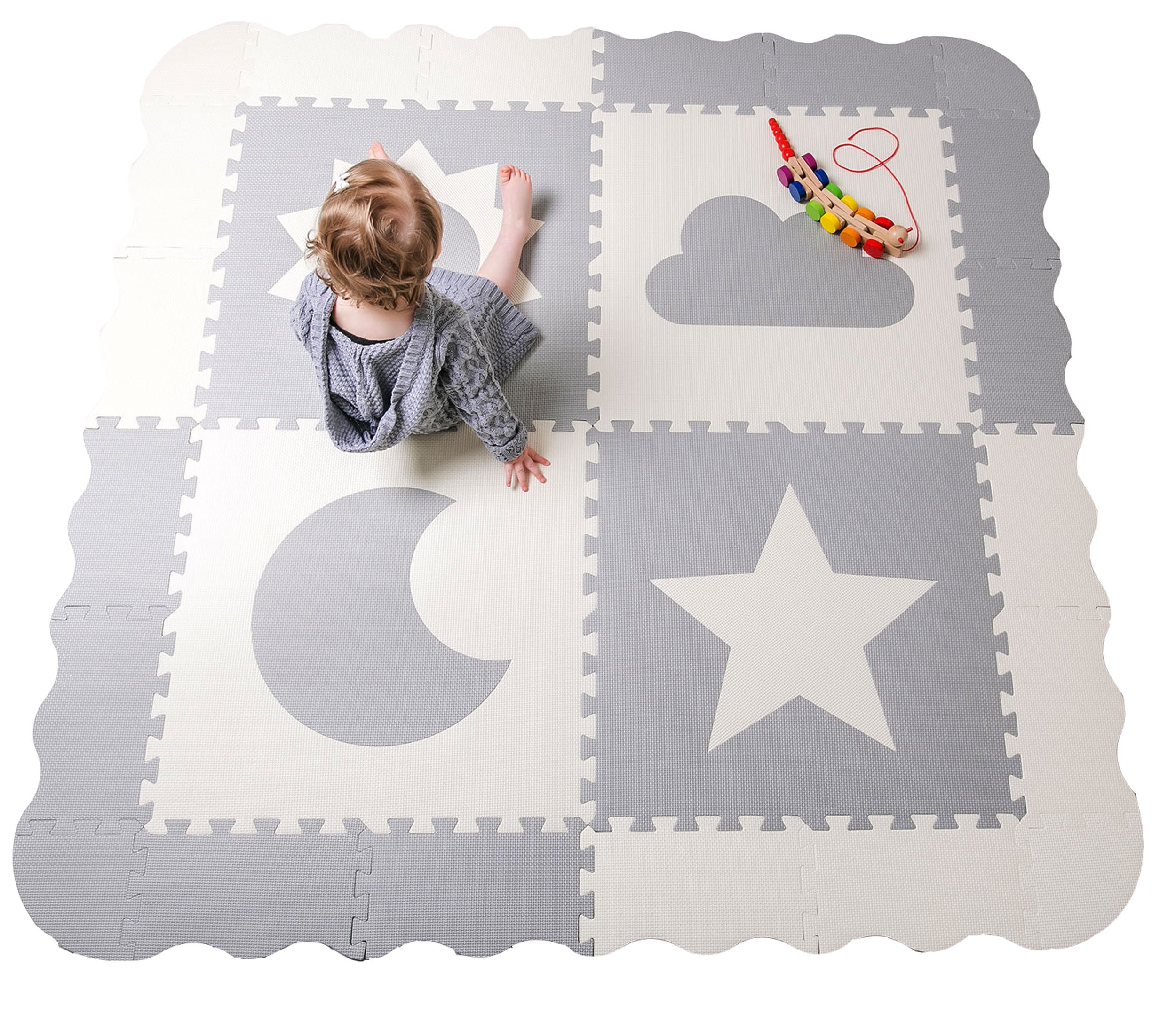 Baby Play Mat Tiles - 61'' x 61'' Extra Large, Non Toxic Thick Floor Mat for Kids, Grey & White Interlocking Foam Playroom & Nursery Playmat, Safe & Protective For Infants Tummy Time