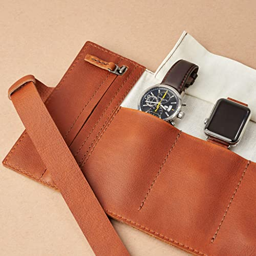 b191c92f71778 Amazon.com: Capra Leather Watch Roll for Men, Tan Brown 5 Watches ...
