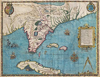 Map Of Florida And Cuba.Amazon Com Historical 1591 De Bry And Le Moyne Map Of Florida And