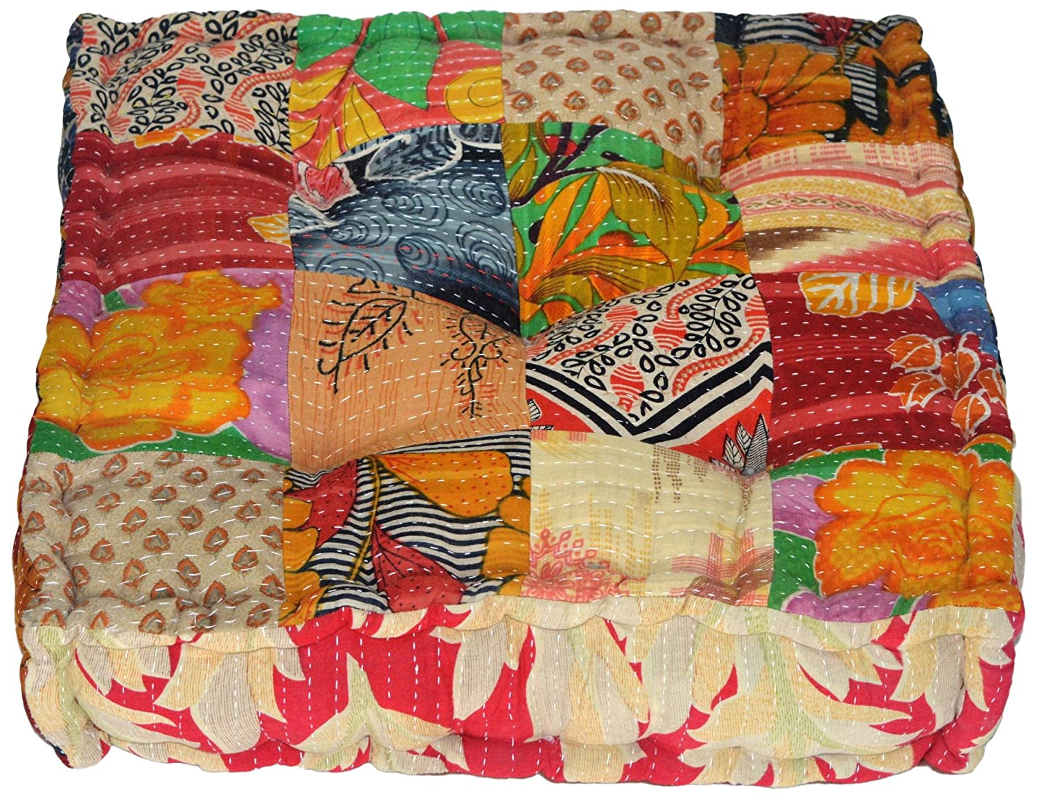 MARUDHARA RANGILA Stuffed Indian Vintage Kantha Patch Floor Cushion; Pouf Ottoman; Floor Pillow Yoga Pillow 16 Patch 5952056