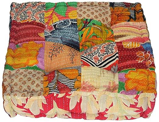 Rangila Stuffed indio Vintage Kantha Patch Cojín de suelo ...