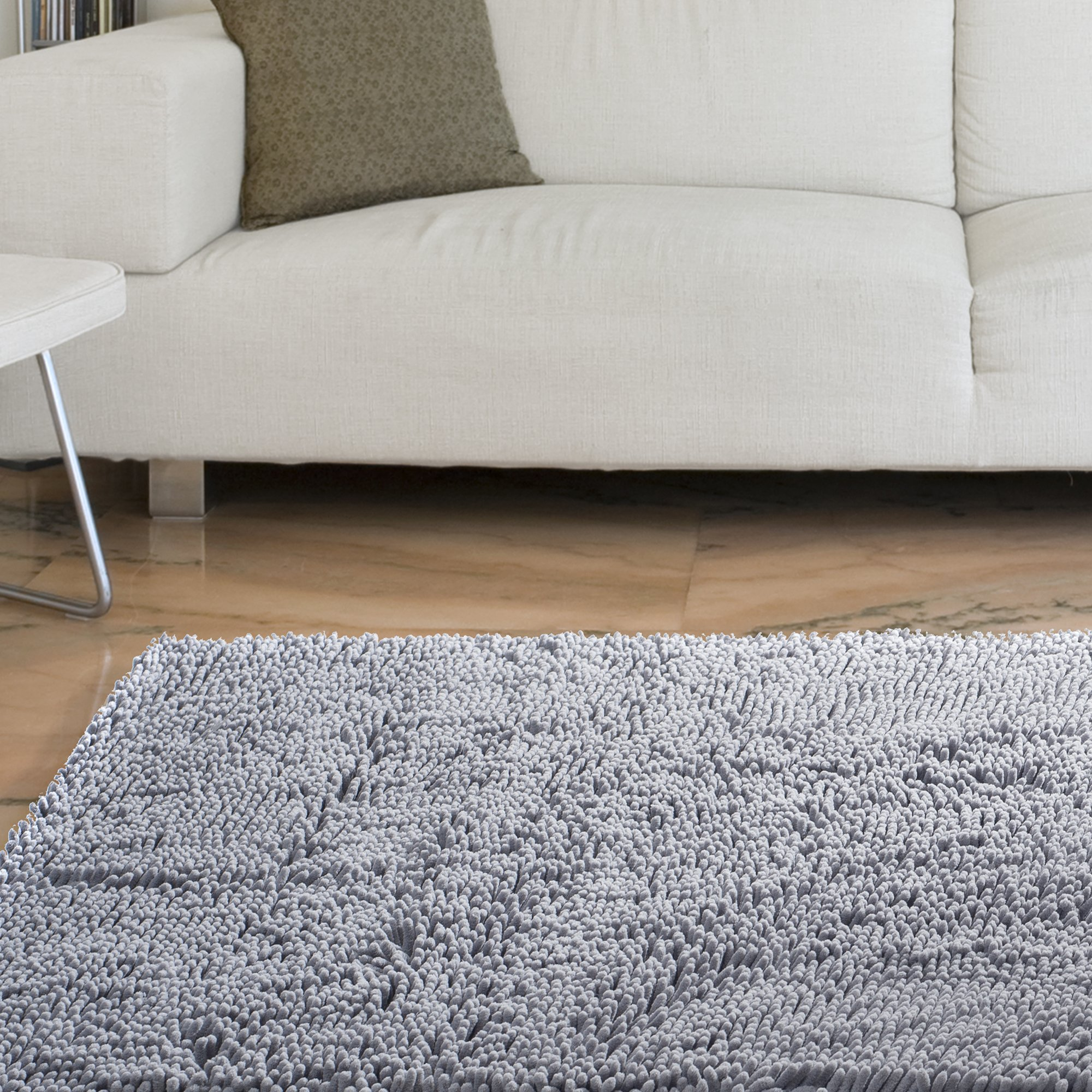 Bedford Home High Pile Shag Rug Carpet, 21 x 36, Grey