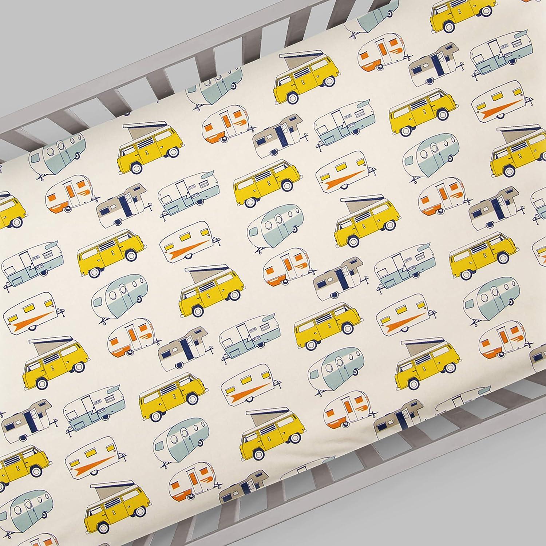 Beige Glenna Jean Happy Camper Mini Crib Sheet Mini Glenna Jean Mfg 30156
