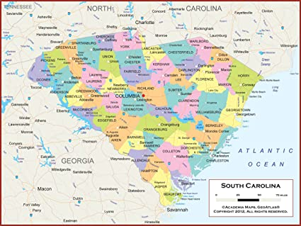 Amazon.com : 60 x 45 Giant South Carolina State Wall Map Poster with ...
