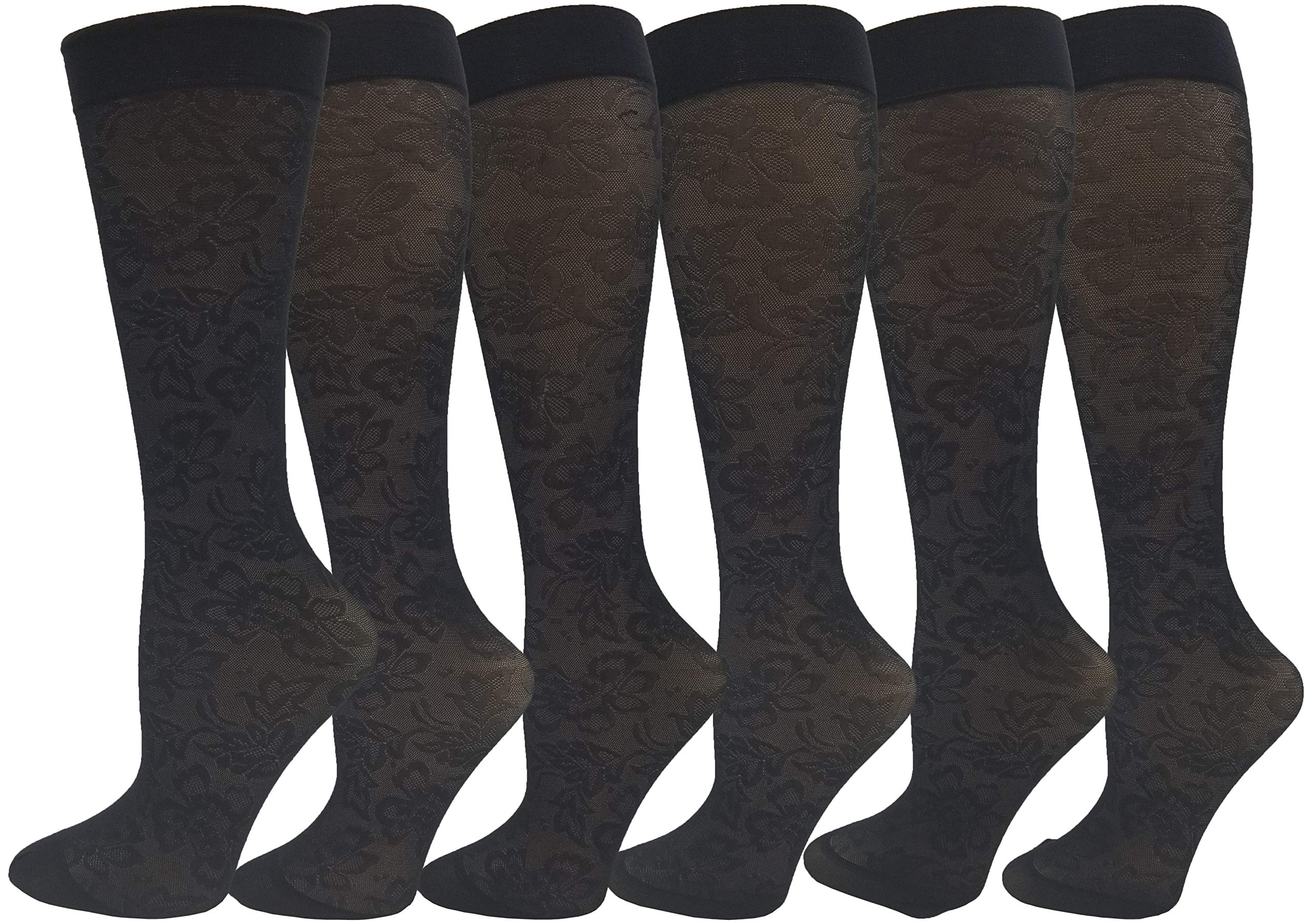 Women's Trouser Socks, 6 Pairs, Opaque Stretchy Nylon Knee High, Many Colors (Black - Floral Patterned)