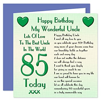 Uncle 85th Happy Birthday Card