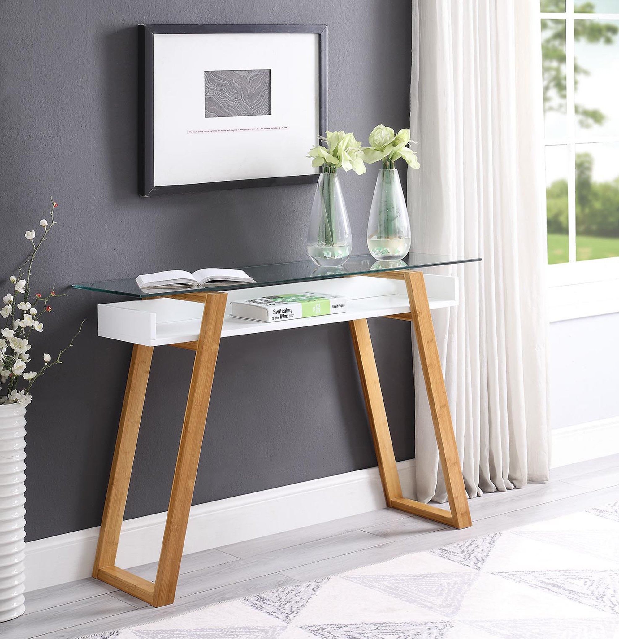 Convenience Concepts Console Table, White/Bamboo by Convenience Concepts