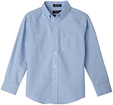 Amazon.com: Nautica Boys' Solid Long-Sleeve Button-Down Shirt ...