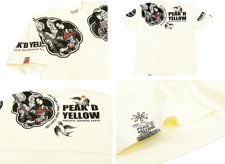 Peakd Yellow Mens Slim fit T-Shirt Japanese Graphic Short Sleeve Tee PYT-208
