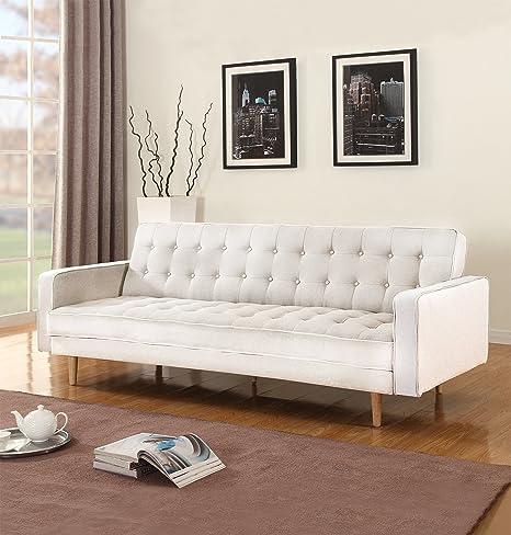 Divano Roma Furniture Mid-Century Modern Two Tone Vintage Linen Sleeper Futon Sofa (Beige)