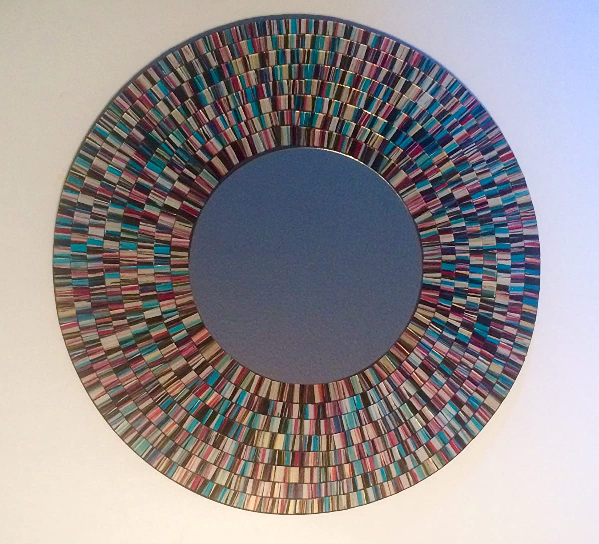 Mosaic Glass Art Mirror (Blue Burst)