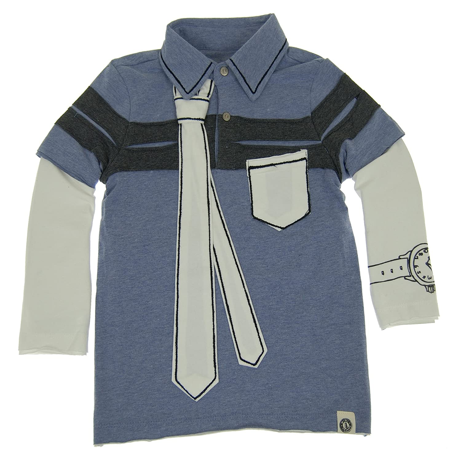 Mini Shatsu Big Boys Inside The Lines Tie Polo Twofer Shirt