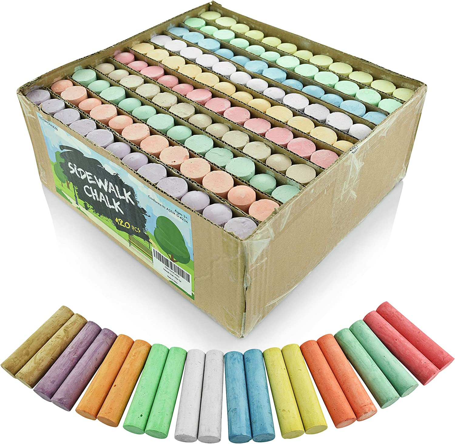 Sidewalk Chalk Set – Pack of 120 Multi-Color Jumbo Street Chalks – 10 Bright & Cheerful Colors – Nontoxic, Washable Tapered Chalks for Teachers and Schools - 1 x 4 Inches