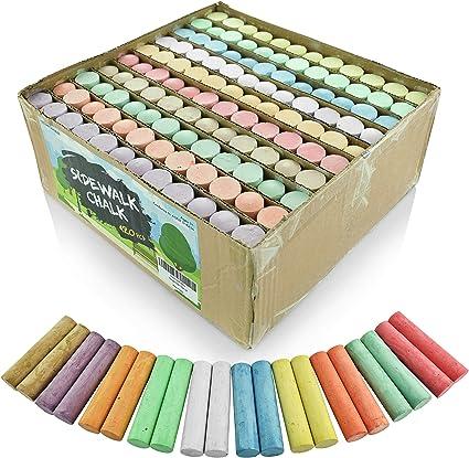 Sidewalk Chalk Set – Pack de 120 tizas multicolor Jumbo Street – 10 colores brillantes y alegres – no tóxico, lavable, Tizas cónicas para profesores y escuelas – 1 x 4 pulgadas: Amazon.es: Oficina y papelería