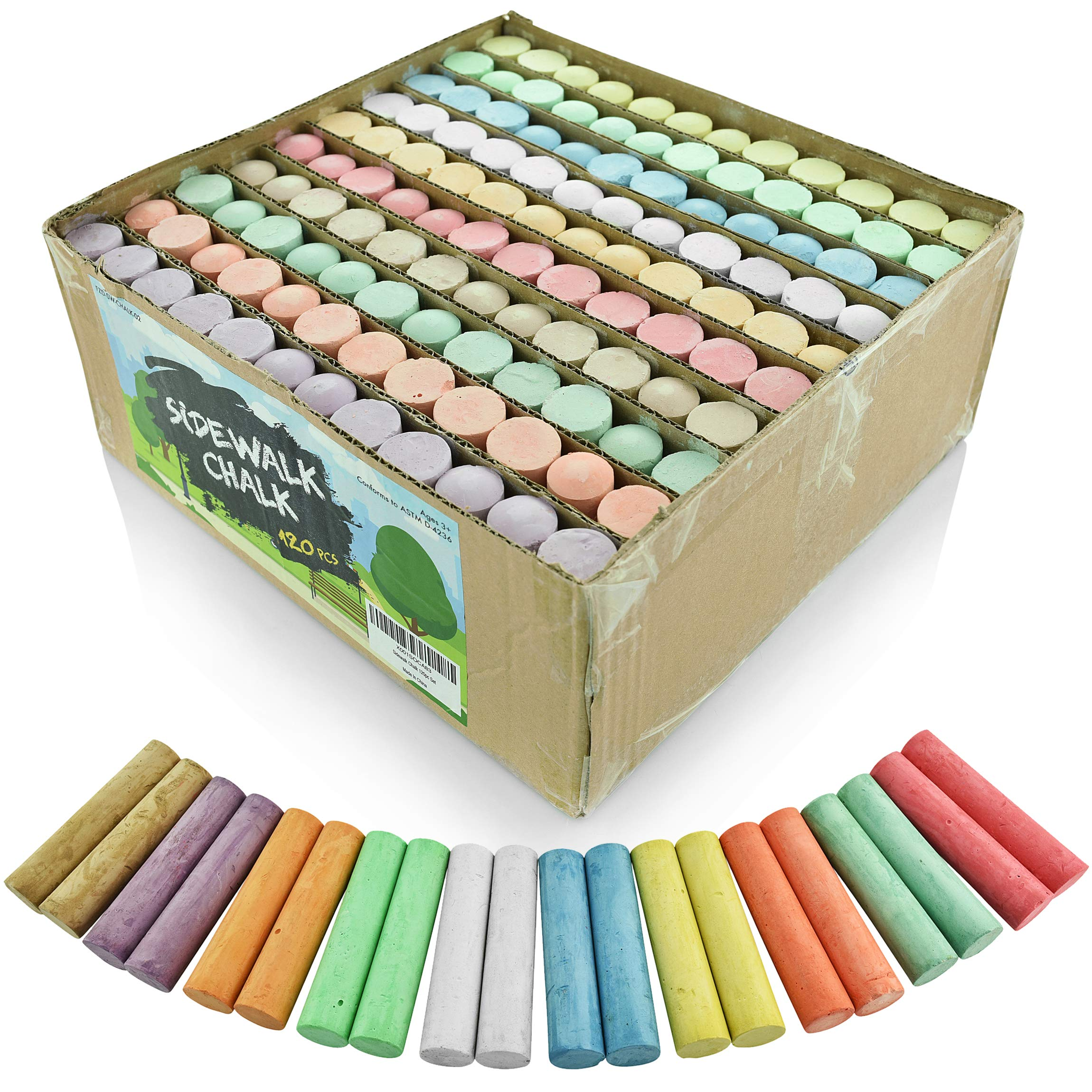 Fat Zebra Designs Sidewalk Chalk Set – Pack of 120 Multi-Color Jumbo Street Chalks – 10 Bright & Cheerful Colors – Nontoxic, Washable Tapered Chalks for Teachers and Schools - 1 x 4 Inches