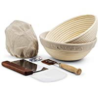 Banneton Proofing Basket, Set of 2, by KooK, Perfect for Sourdough, Includes Metal Dough Scraper, Plastic Scraper, Scoring Lame and Case, Extra Blades