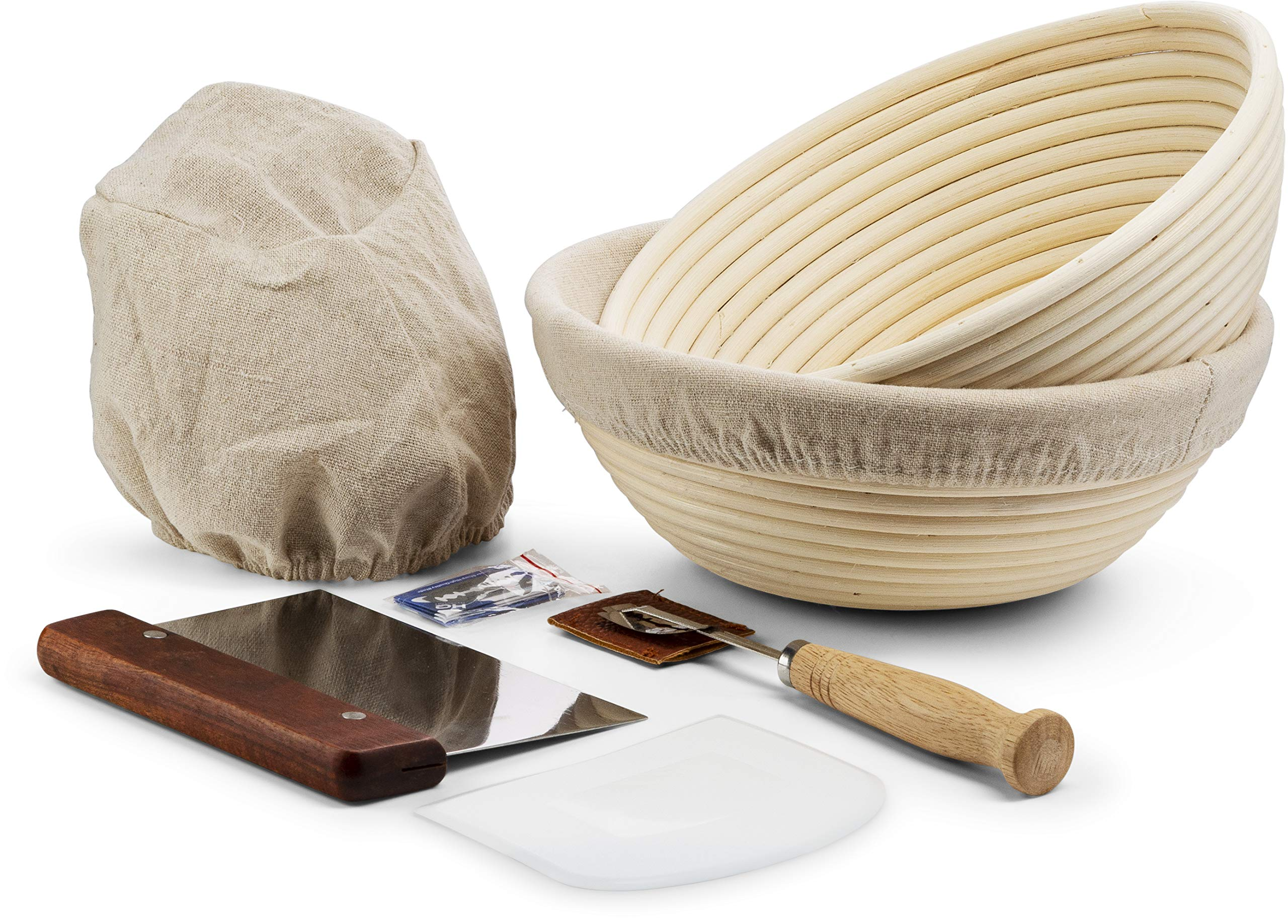 Banneton Proofing Basket, Set of 2, by KooK, Perfect for Sourdough, Includes Metal Dough Scraper, Plastic Scraper, Scoring Lame and Case, Extra Blades by KooK