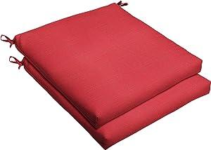 Mozaic AMCS105499 Indoor or Outdoor Square Chair Seat Cushions Set, Set of 2, 19 x 19 x 2.5, Sunbrella - Dupione Crimson