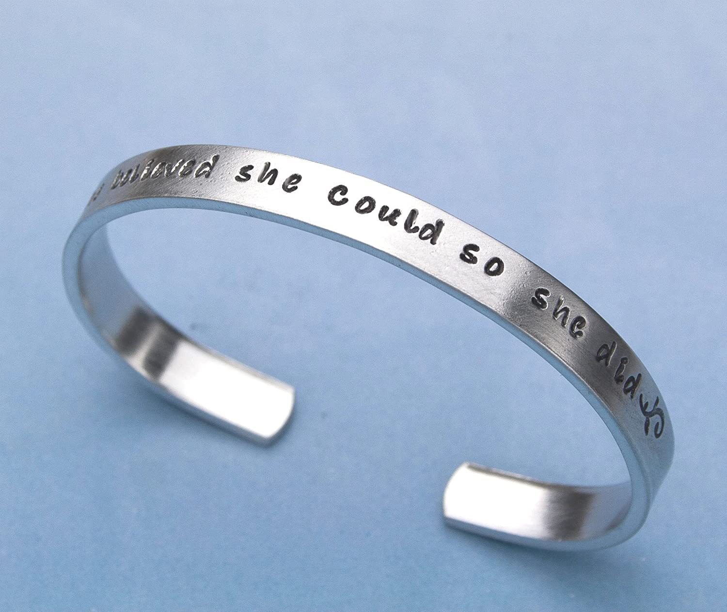 Inspirational Bracelet, Quote Jewelry, She Believed She Could So She Did Hand Stamped Bracelet, Aluminum 6